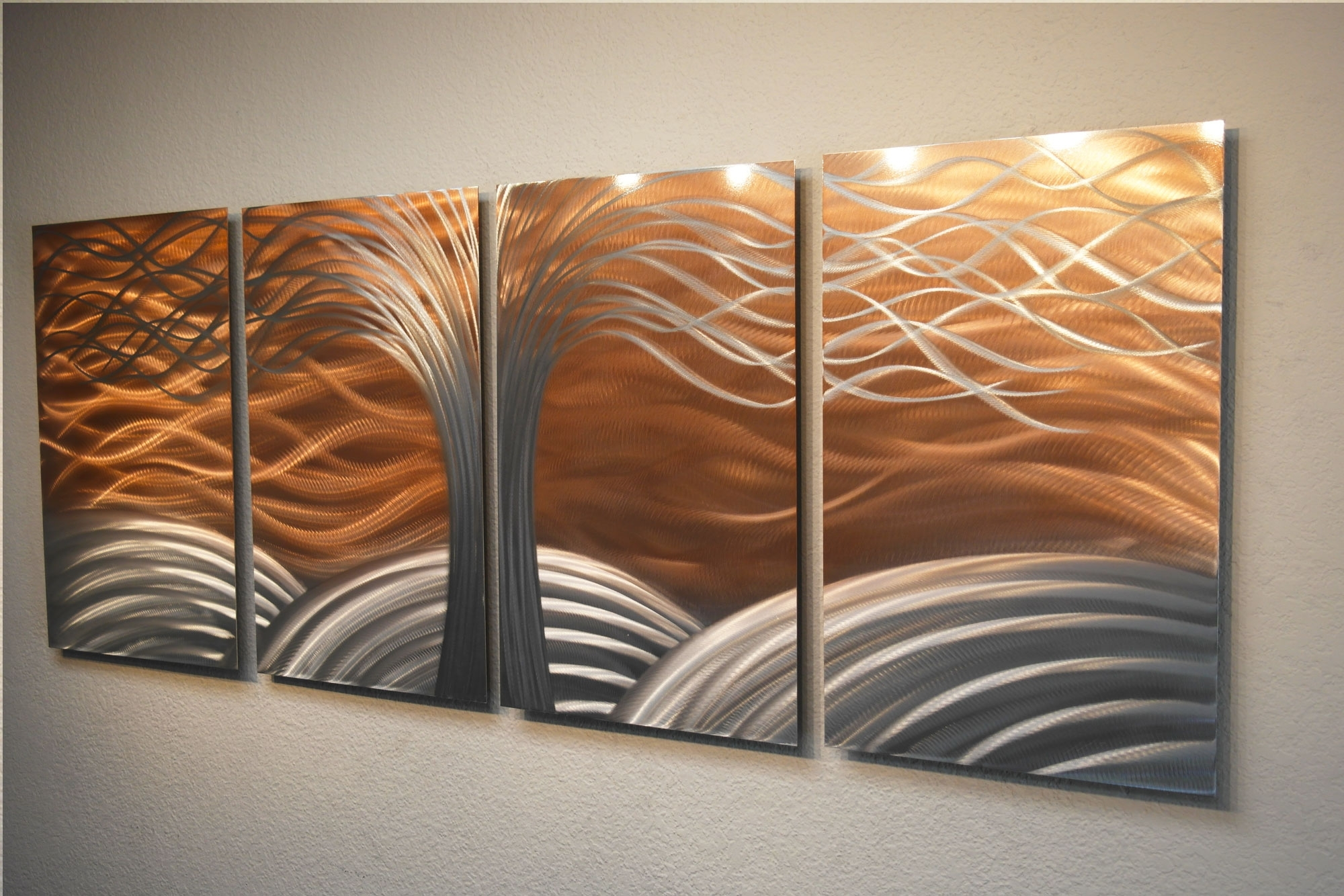 Tree Of Life Bright Copper - Metal Wall Art Abstract Sculpture inside Copper Wall Art (Image 18 of 20)