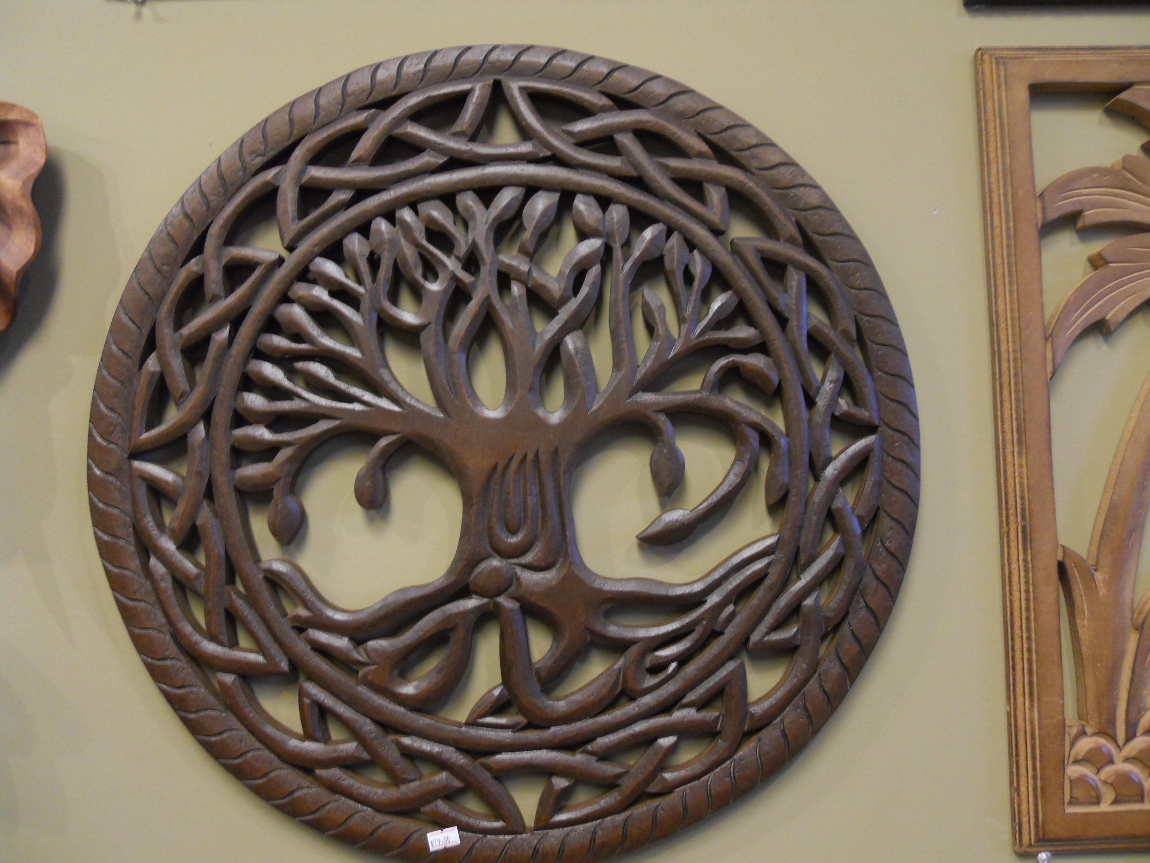 Tree Of Life Carved Wooden Wall Art - Elitflat within Carved Wood Wall Art (Image 18 of 20)