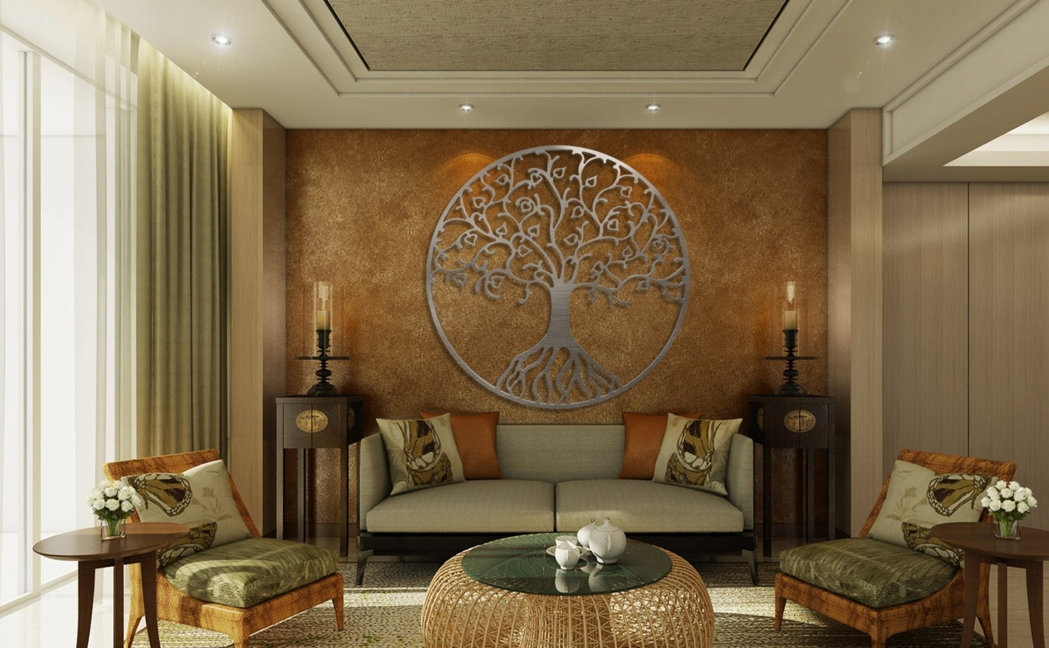 Tree Of Life Metal Wall Art, Metal Tree Wall Art, Circle Wall Art pertaining to 3D Metal Wall Art (Image 18 of 20)