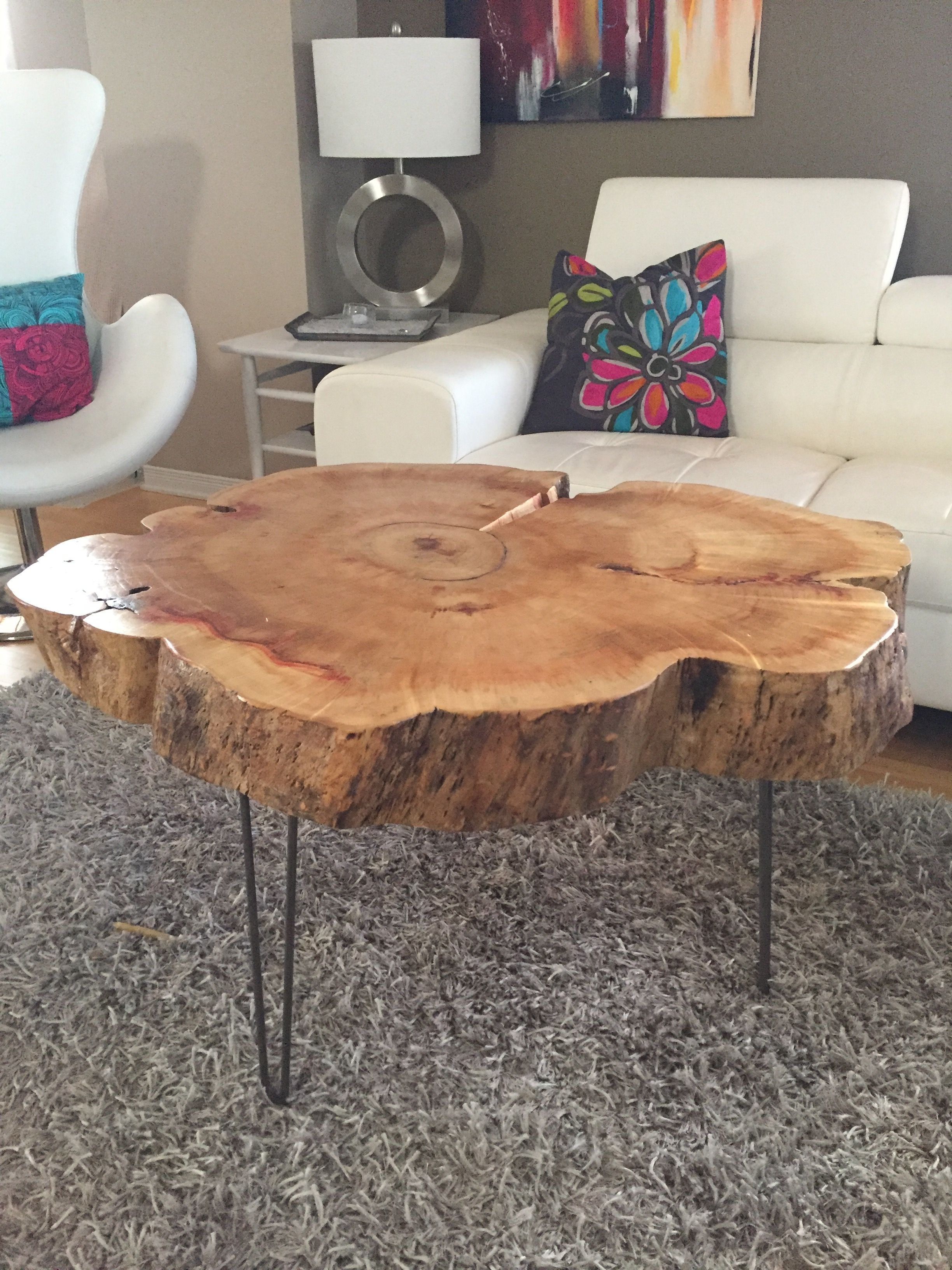 Tree Trunk Table With Metal Legs, Wood Coffee Table With Hairpin Inside Sliced Trunk Coffee Tables (View 29 of 30)