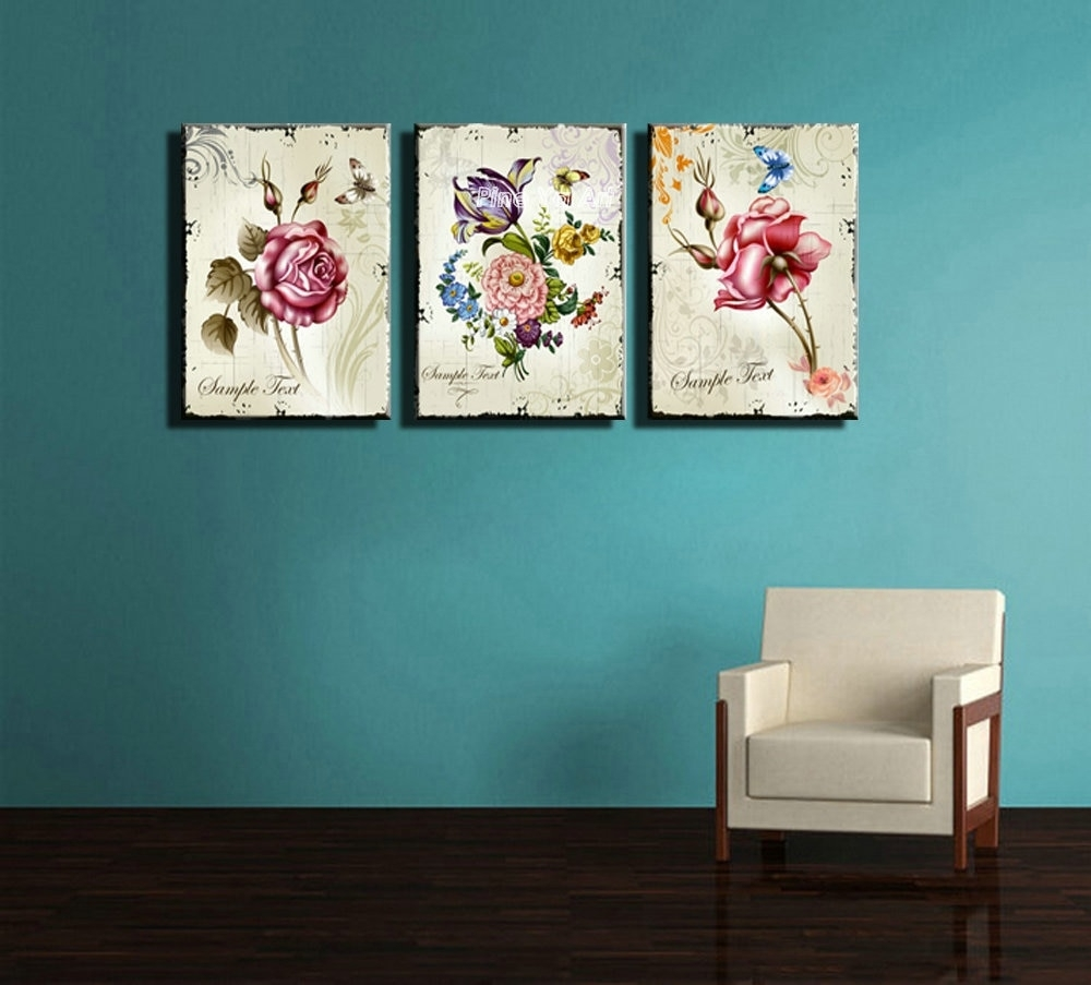 Triptych Cheap Modern Canvas Prints Rose Drawing Picture Wall Art with regard to Modern Canvas Wall Art (Image 18 of 20)