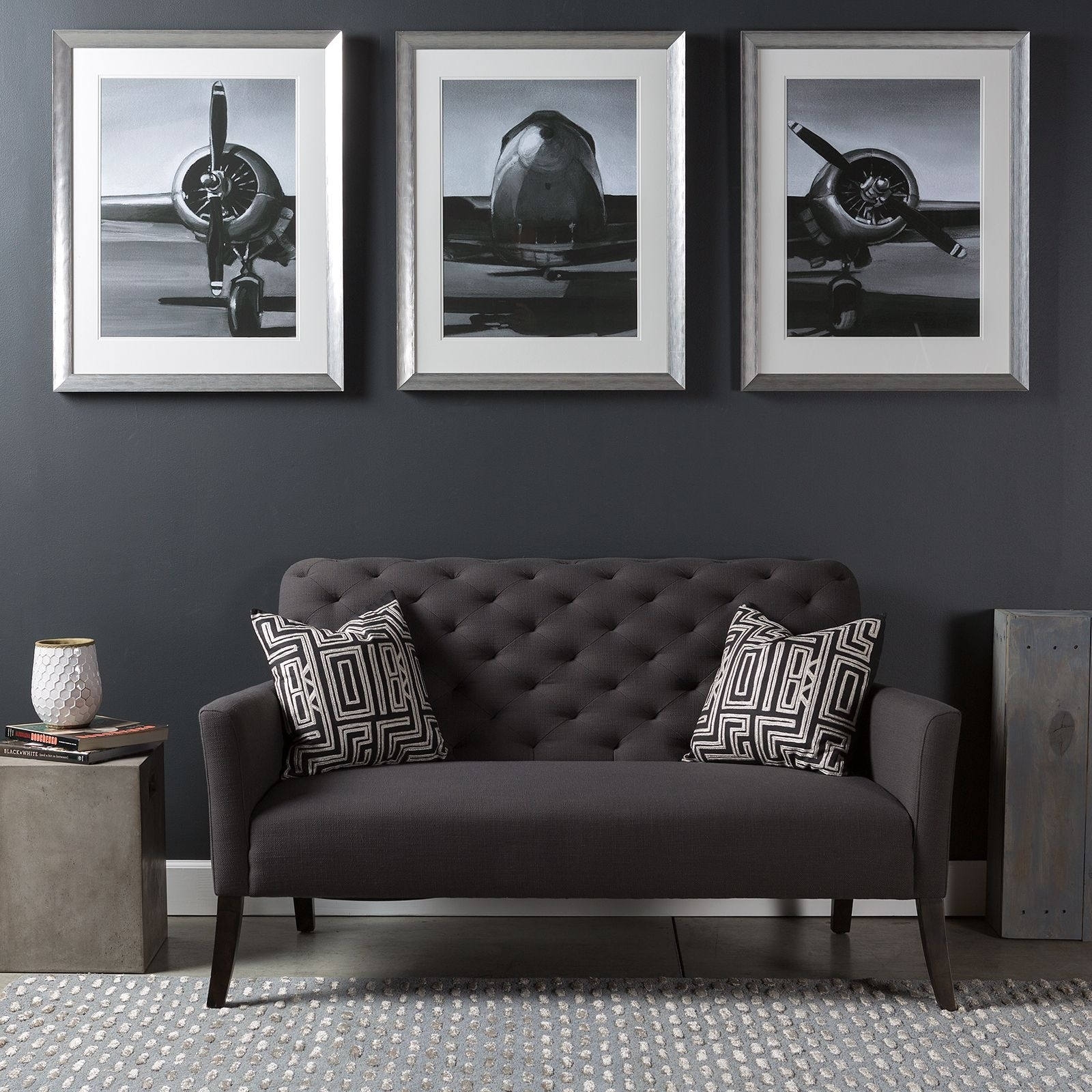 Triptych Wall Art Piece With A Modern Industrial Flare; A Series Of with Airplane Wall Art (Image 19 of 20)
