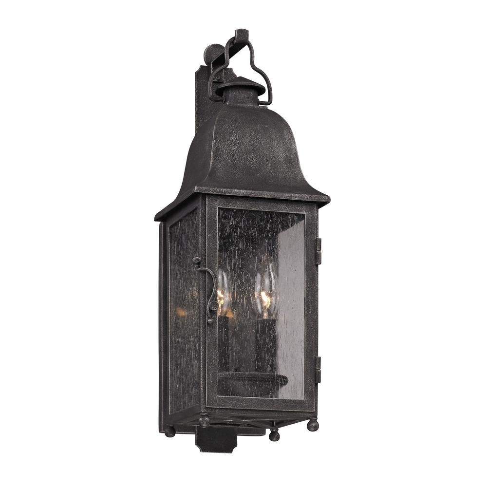 Troy Lighting Larchmont 2-Light Aged Pewter Outdoor Wall Mount with Italian Outdoor Lanterns (Image 18 of 20)