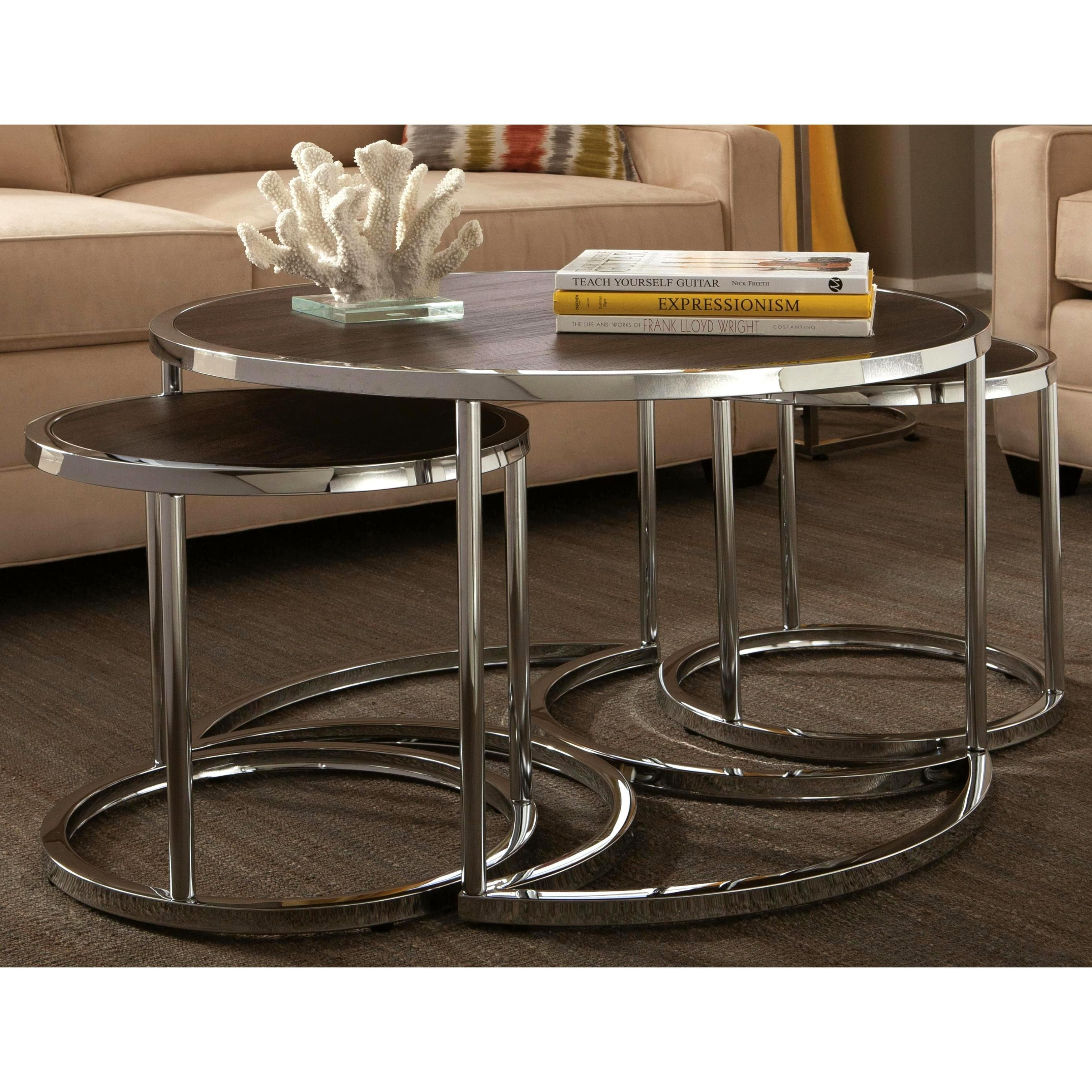 Tthe Chrome Base Combined With A Cappuccino Wood Top Create A Very for Expressionist Coffee Tables (Image 26 of 30)