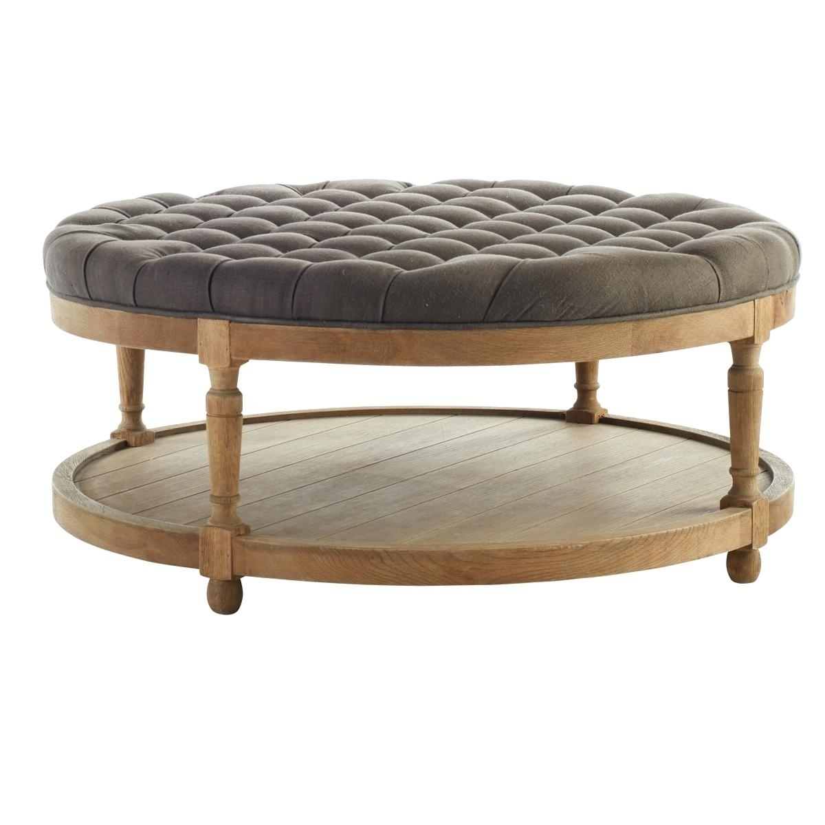 Tufted Coffee Table Wisteria Round Button Essex Ottoman With Tray inside Round Button Tufted Coffee Tables (Image 30 of 30)
