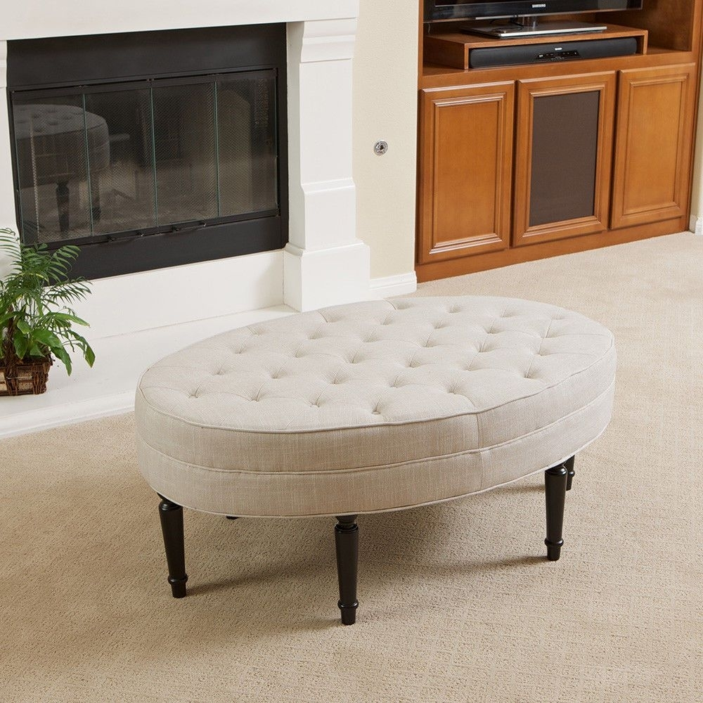 Tufted Top Linen Upholstered Oval Ottoman Coffee Table W/ Button Regarding Button Tufted Coffee Tables (Photo 20 of 30)