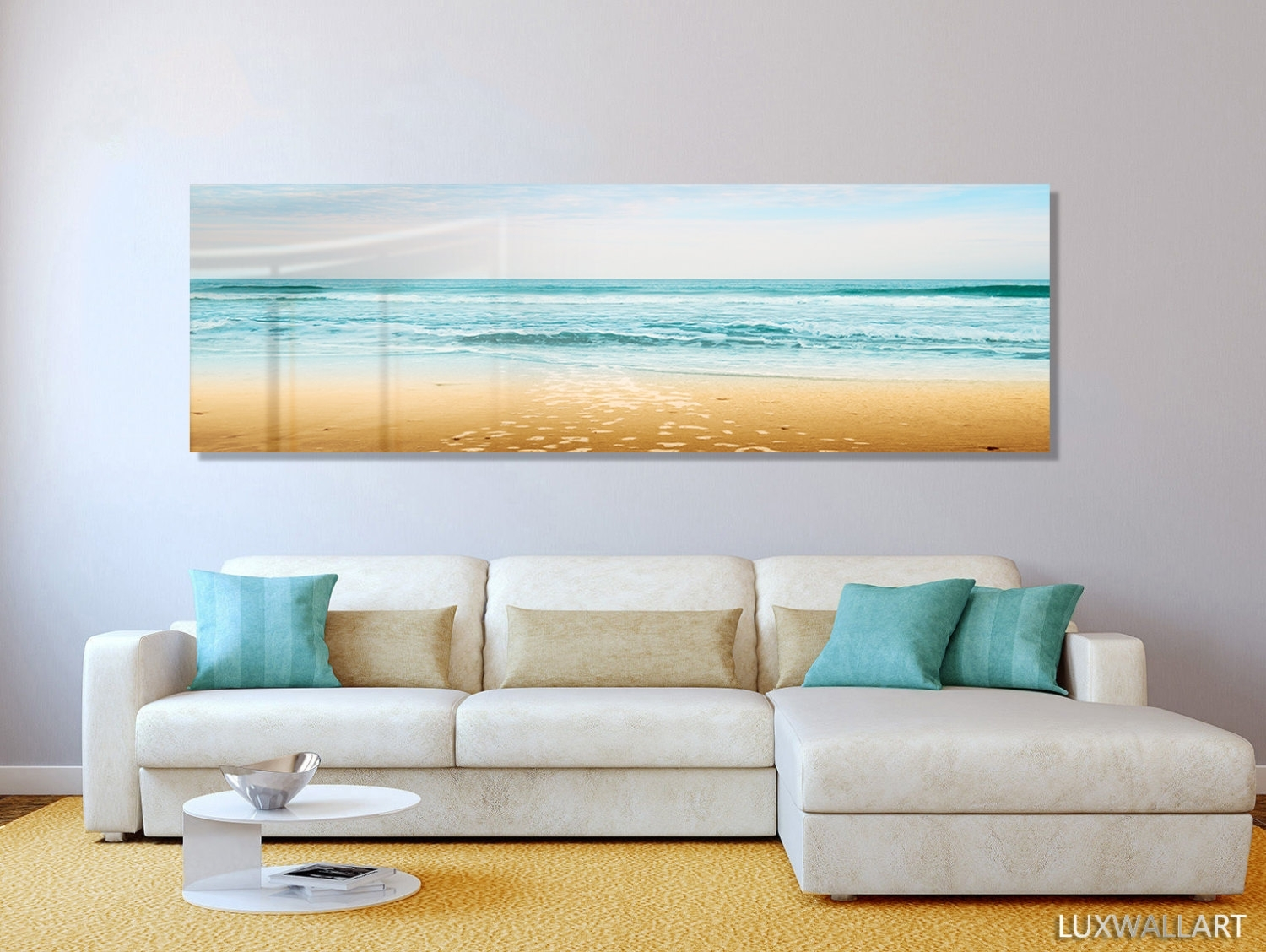 Turquoise Beach Ocean Panoramic Modern Contemporary Hd Metal For Panoramic Wall Art (View 9 of 20)
