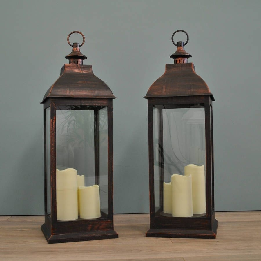 Two Firenze Battery Operated Candle Lanterns In Copper | Wedding regarding Outdoor Lanterns With Battery Candles (Image 19 of 20)
