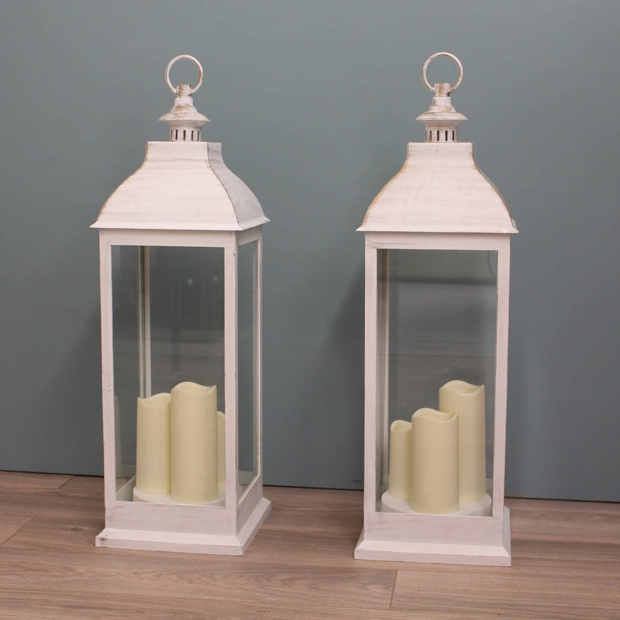 Two Firenze Battery Operated Candle Lanterns In Creamgarden intended for Outdoor Lanterns and Candles (Image 19 of 20)
