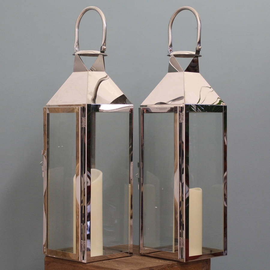 Two Knightsbridge Silver Candle Lanterns 55cmgarden Selections Throughout Silver Outdoor Lanterns (View 8 of 20)
