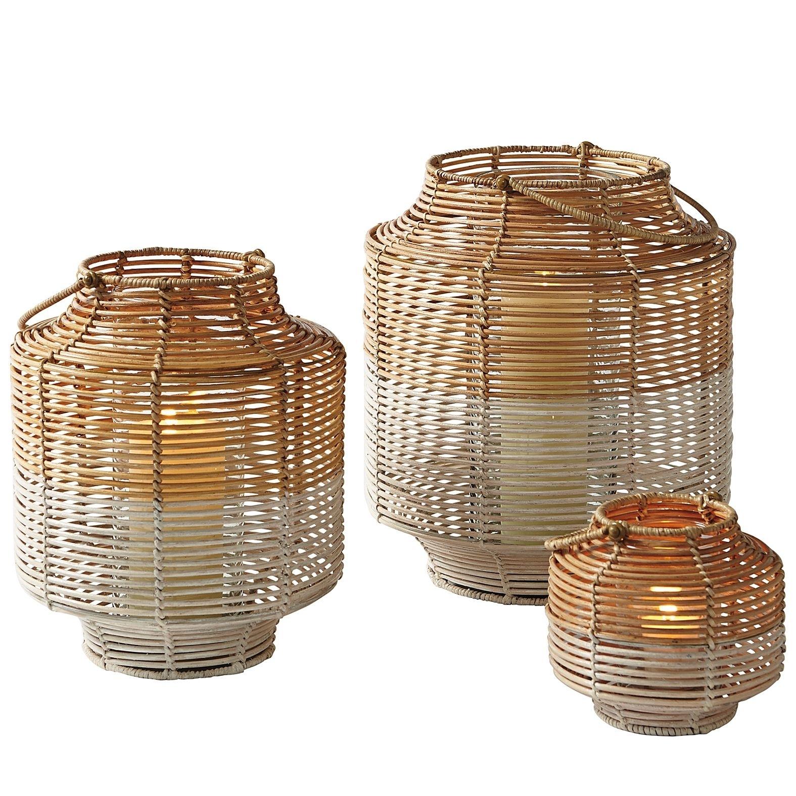 Two-Toned Rattan Lanterns – Small | Serena & Lily | Tc Sleep throughout Outdoor Rattan Lanterns (Image 20 of 20)
