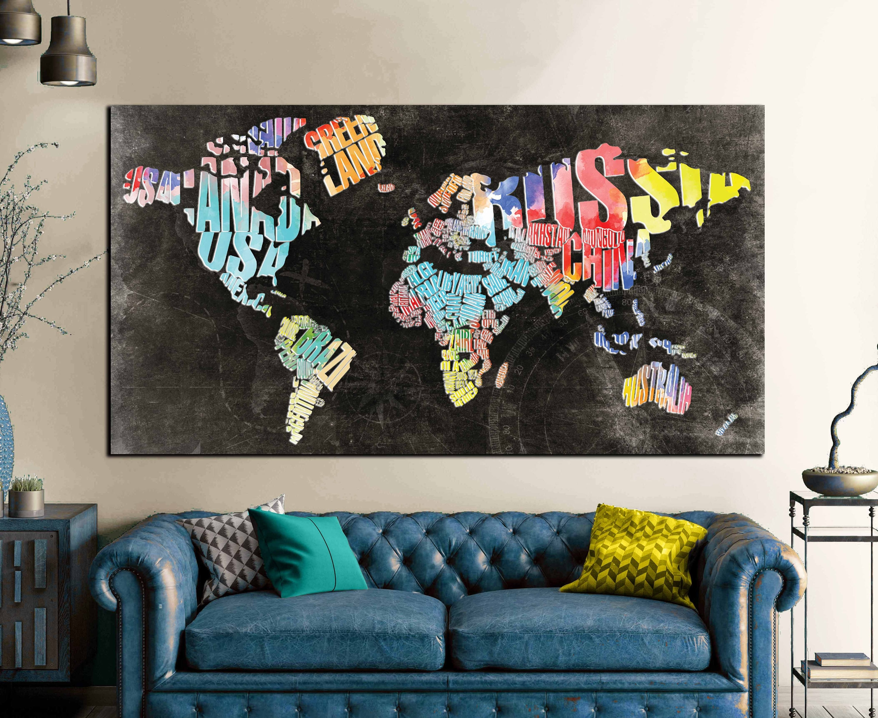 Typographic World Text Map,world Map Abstract Wall Art Canvas Print With Regard To World Map Wall Art Canvas (View 15 of 20)