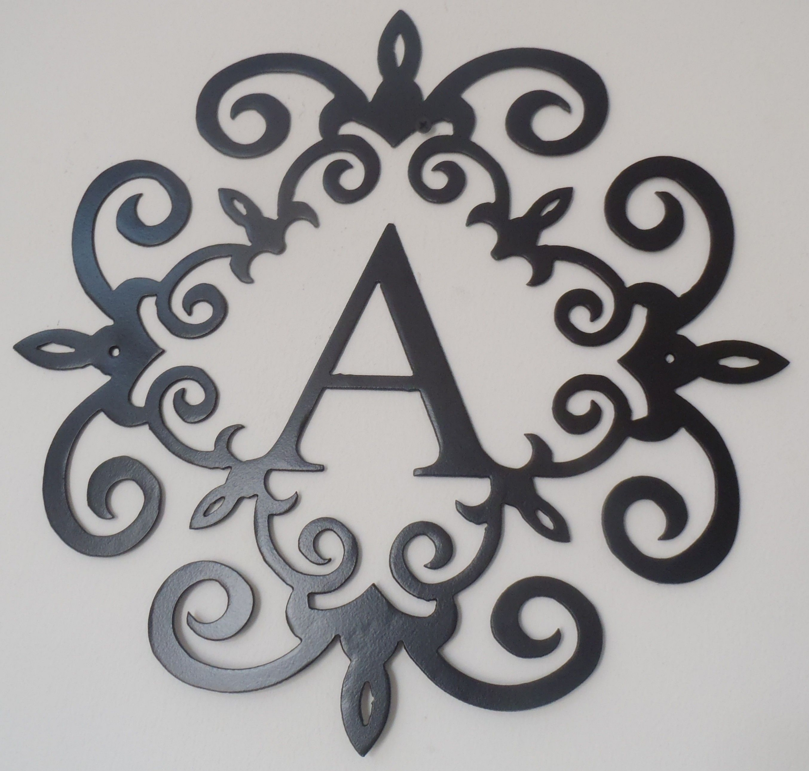 Unbelievable Wrought Iron Monogram Wall Decor Metal Scroll Wall Art with regard to Monogram Wall Art (Image 20 of 20)