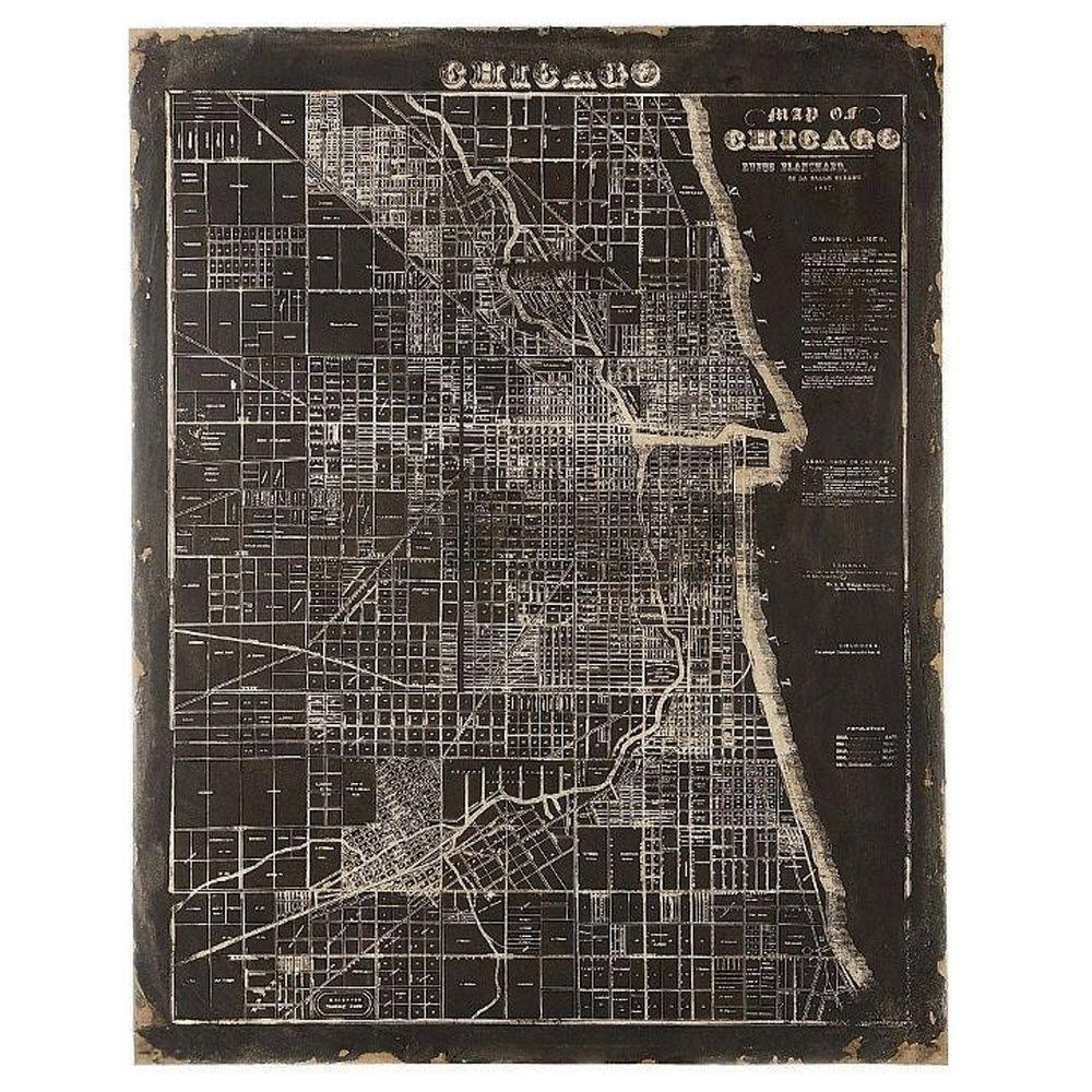 Unbranded 45 In. H X 35.5 In. W Mdf And Canvas Map Of Chicago Wall pertaining to Chicago Map Wall Art (Image 19 of 20)