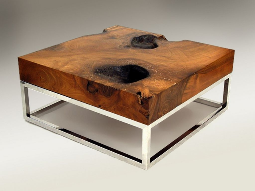Unfinished Teak Wood Coffee Table With Metal Frame | Coffee Tables inside Large Teak Coffee Tables (Image 26 of 30)
