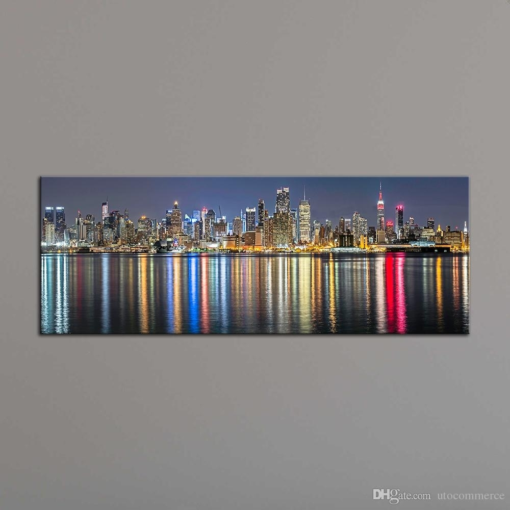 Unframe New York City Canvas Painting Panoramic Home Decor Canvas with regard to New York City Wall Art (Image 19 of 20)