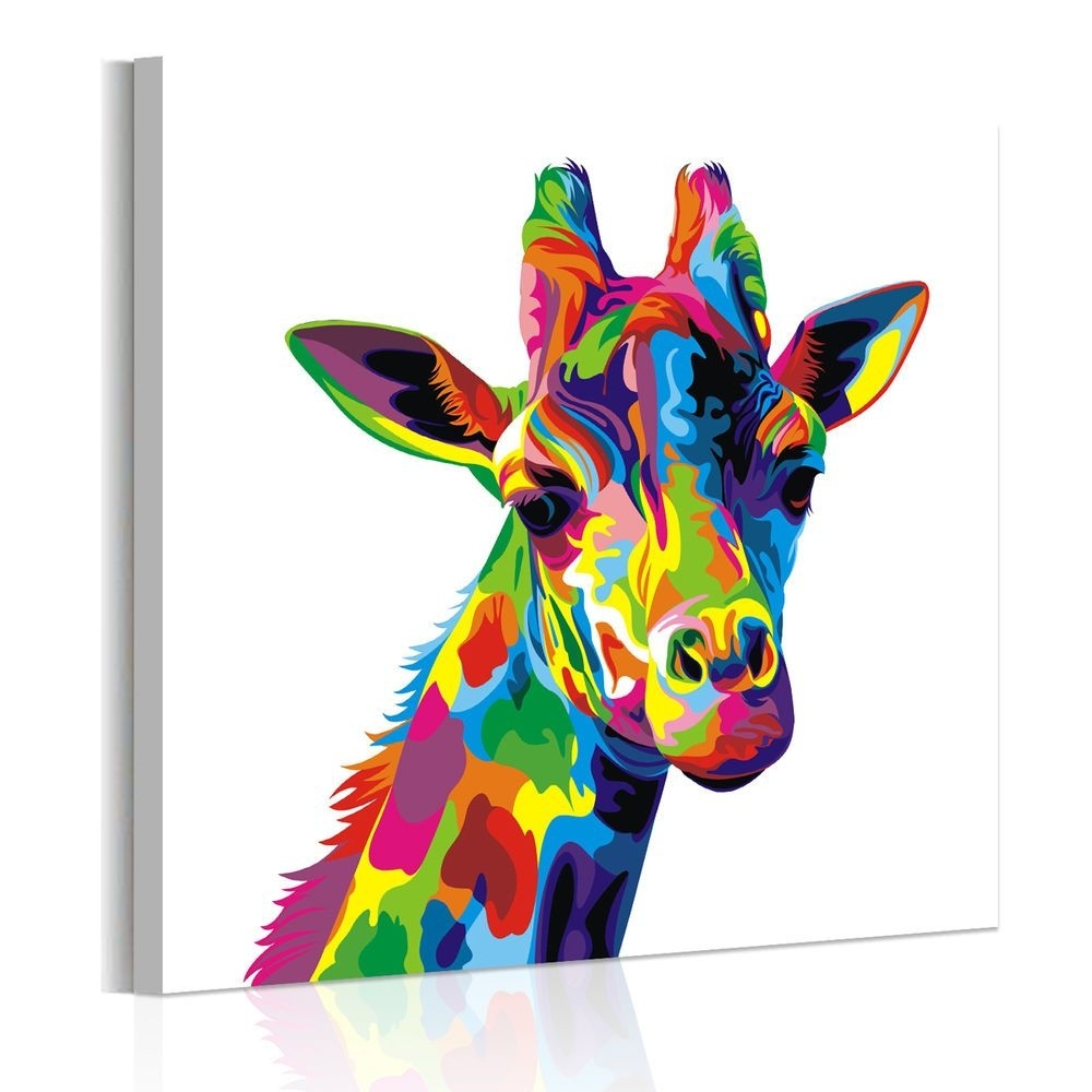 Unframed Abstract Wall Art Colored Giraffe Canvas Prints Poster with regard to Giraffe Canvas Wall Art (Image 19 of 20)