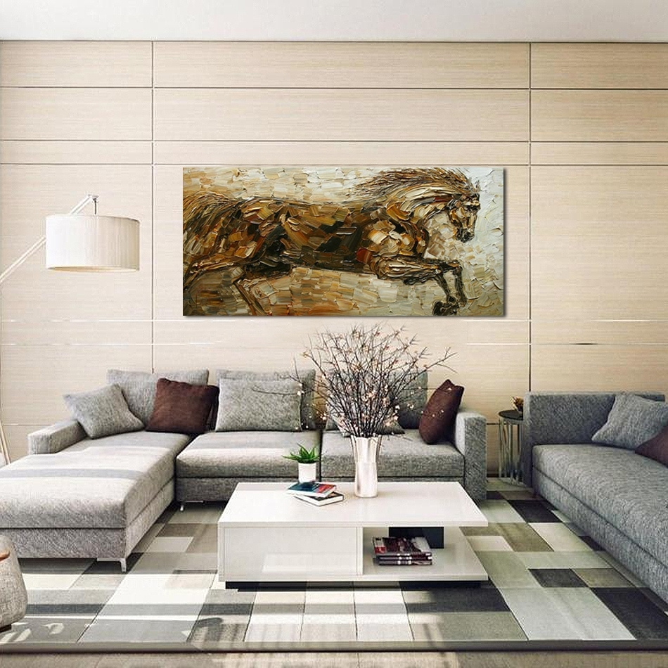 Unframed Running Horse Hand Painted Oil Painting Large Modern Wall For Large Contemporary Wall Art (View 19 of 20)