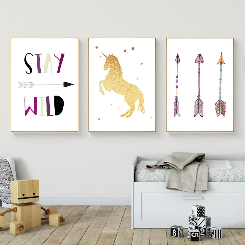 Unicorn Arrow Wall Art Canvas Poster Nursery Quote Prints Kids intended for Arrow Wall Art (Image 18 of 20)