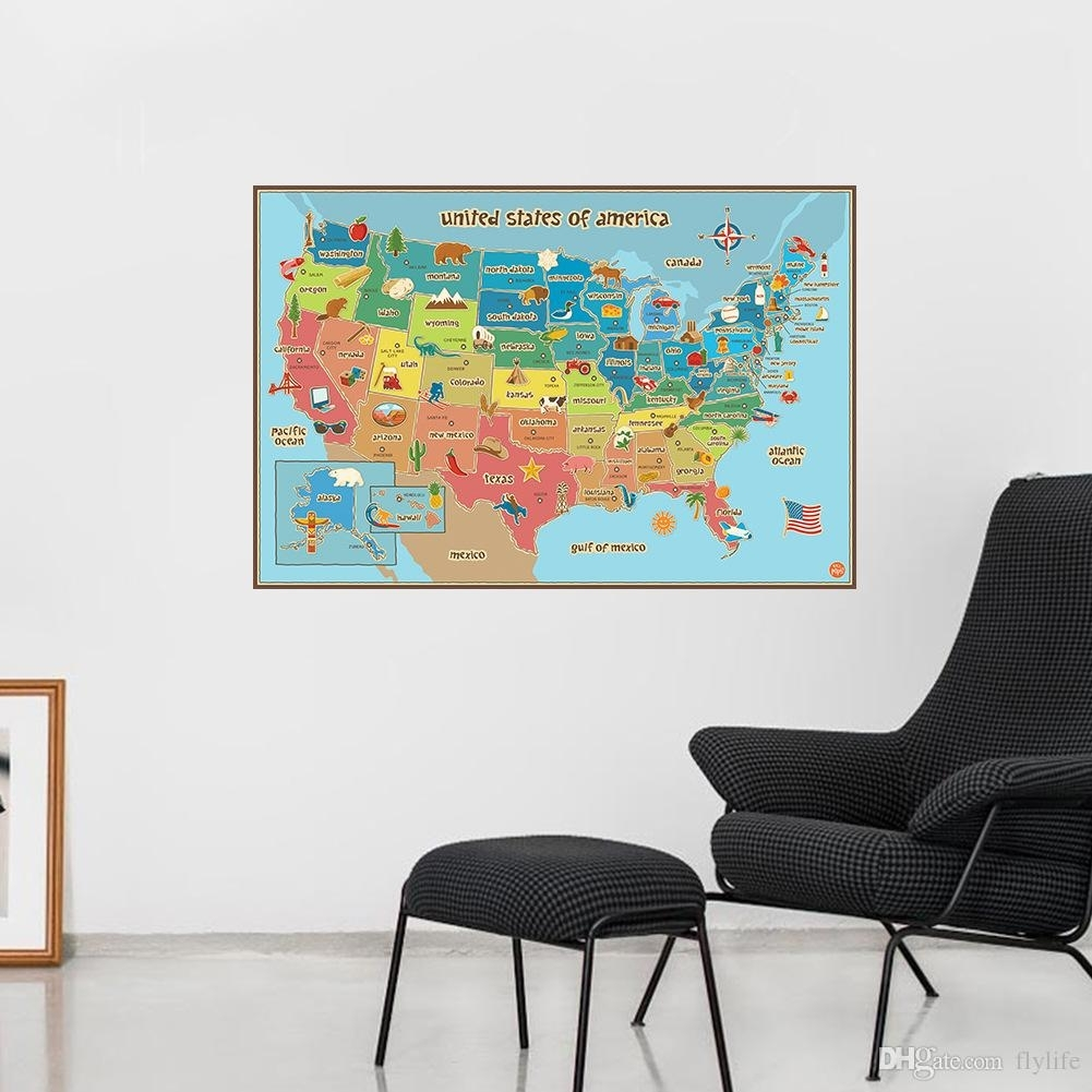 United State Map Wall Decor Colorful America Map Wall Sticker School Inside United States Map Wall Art (View 11 of 20)