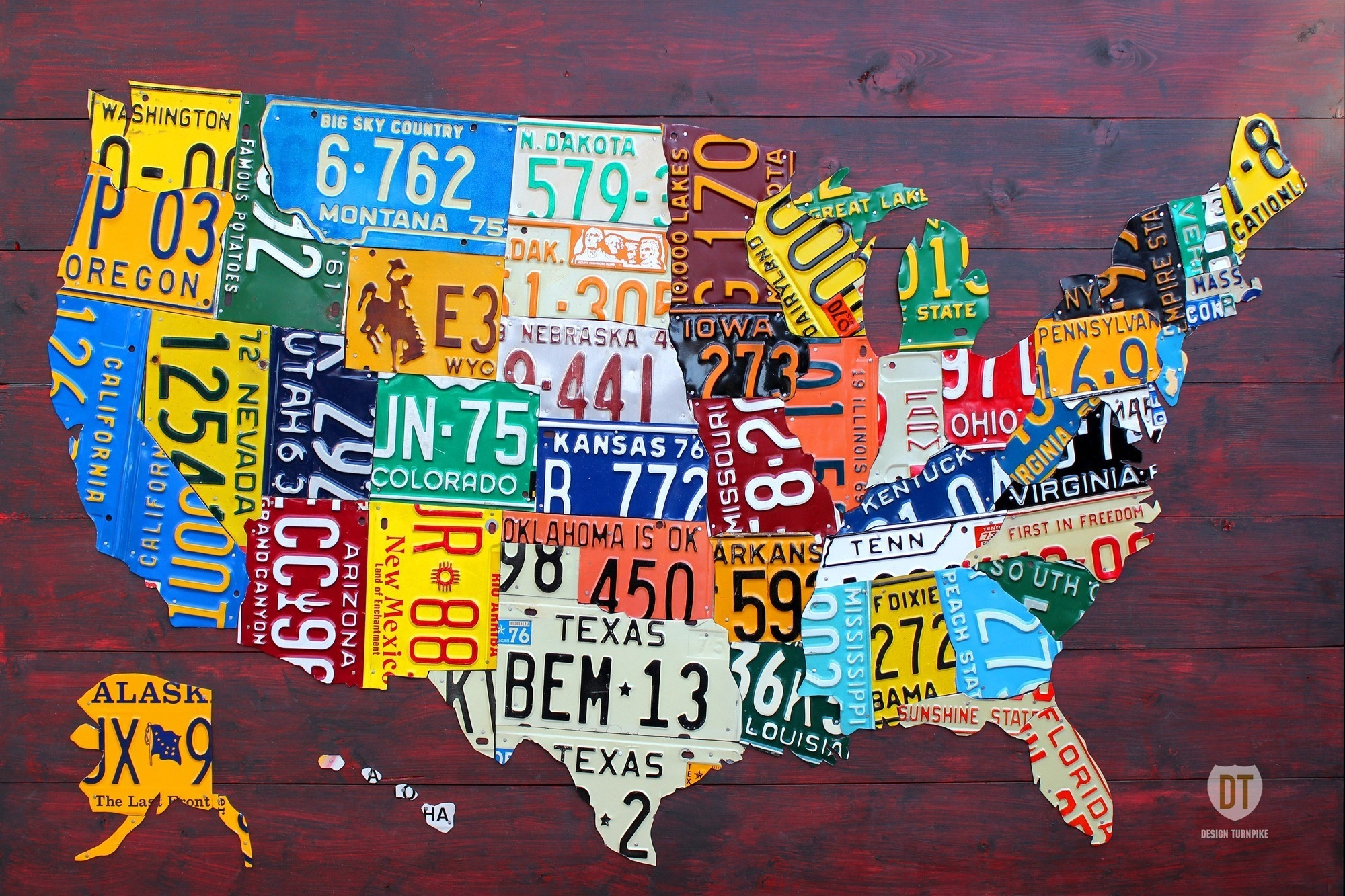 Featured Photo of License Plate Map Wall Art