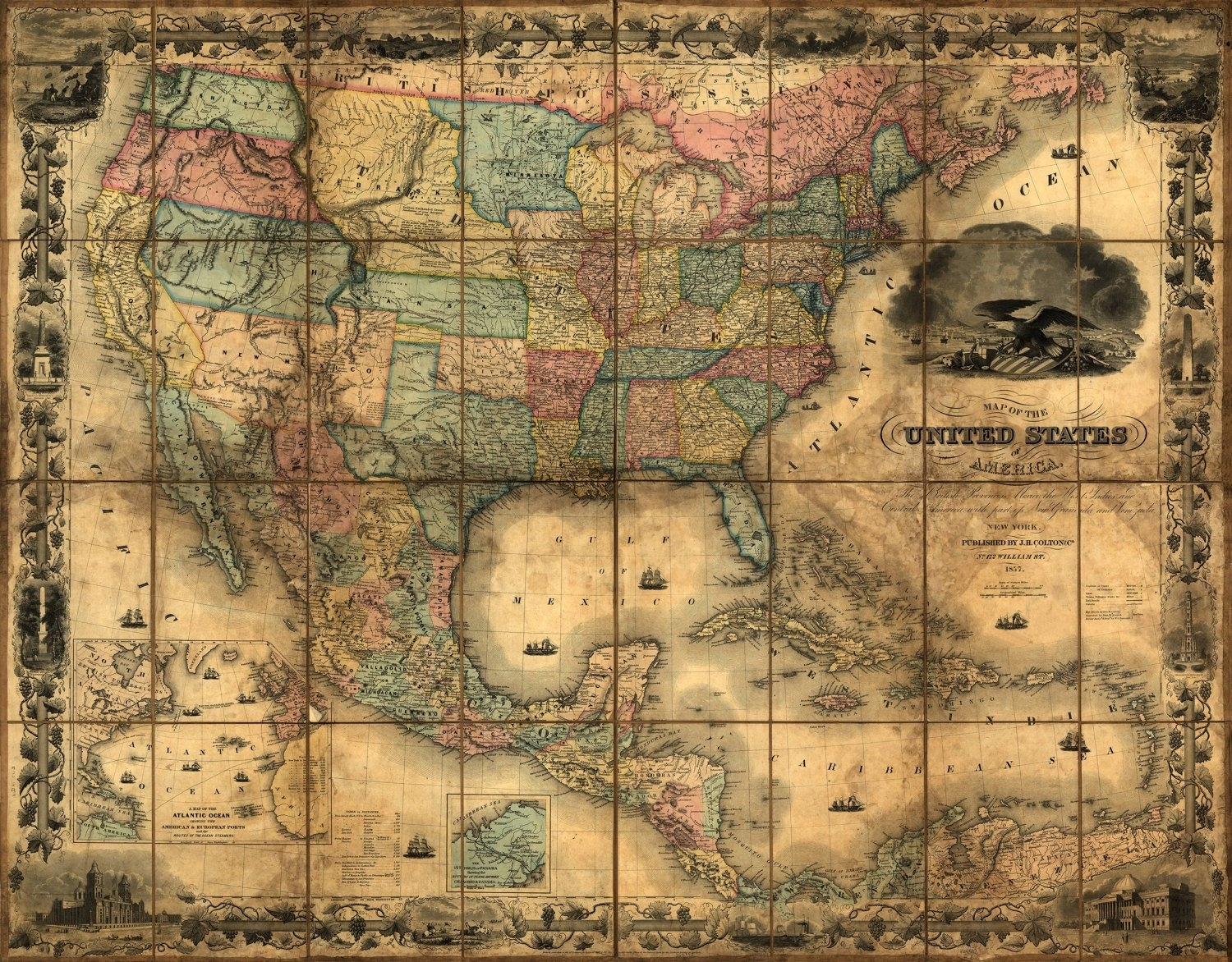 United States Map, Vintage Map, Canvas Large Map, Wall Art Map, Map for Usa Map Wall Art (Image 10 of 20)