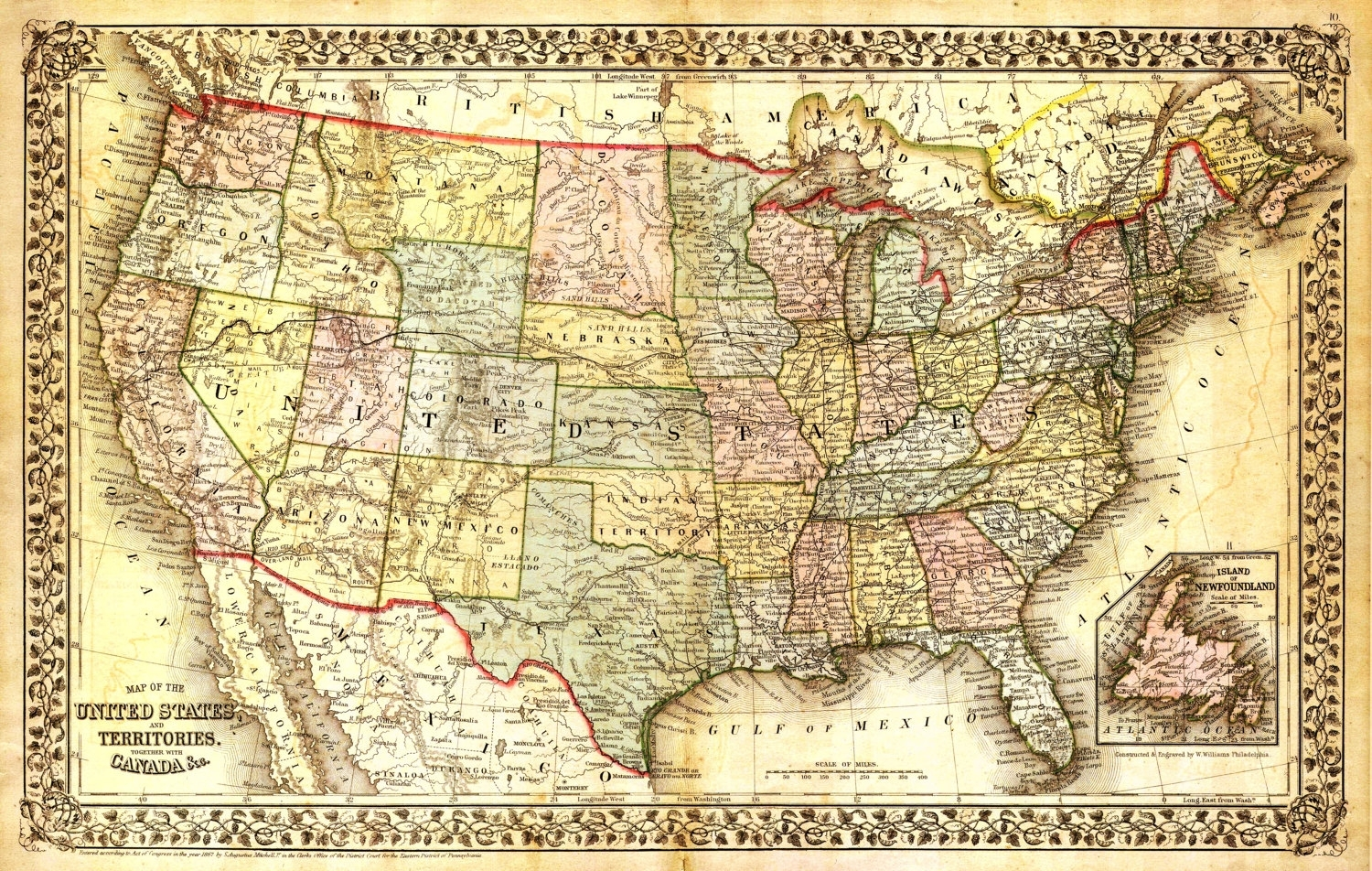 United States Map, Vintage Map, Canvas Large Map, Wall Art Map, Map with regard to United States Map Wall Art (Image 9 of 20)