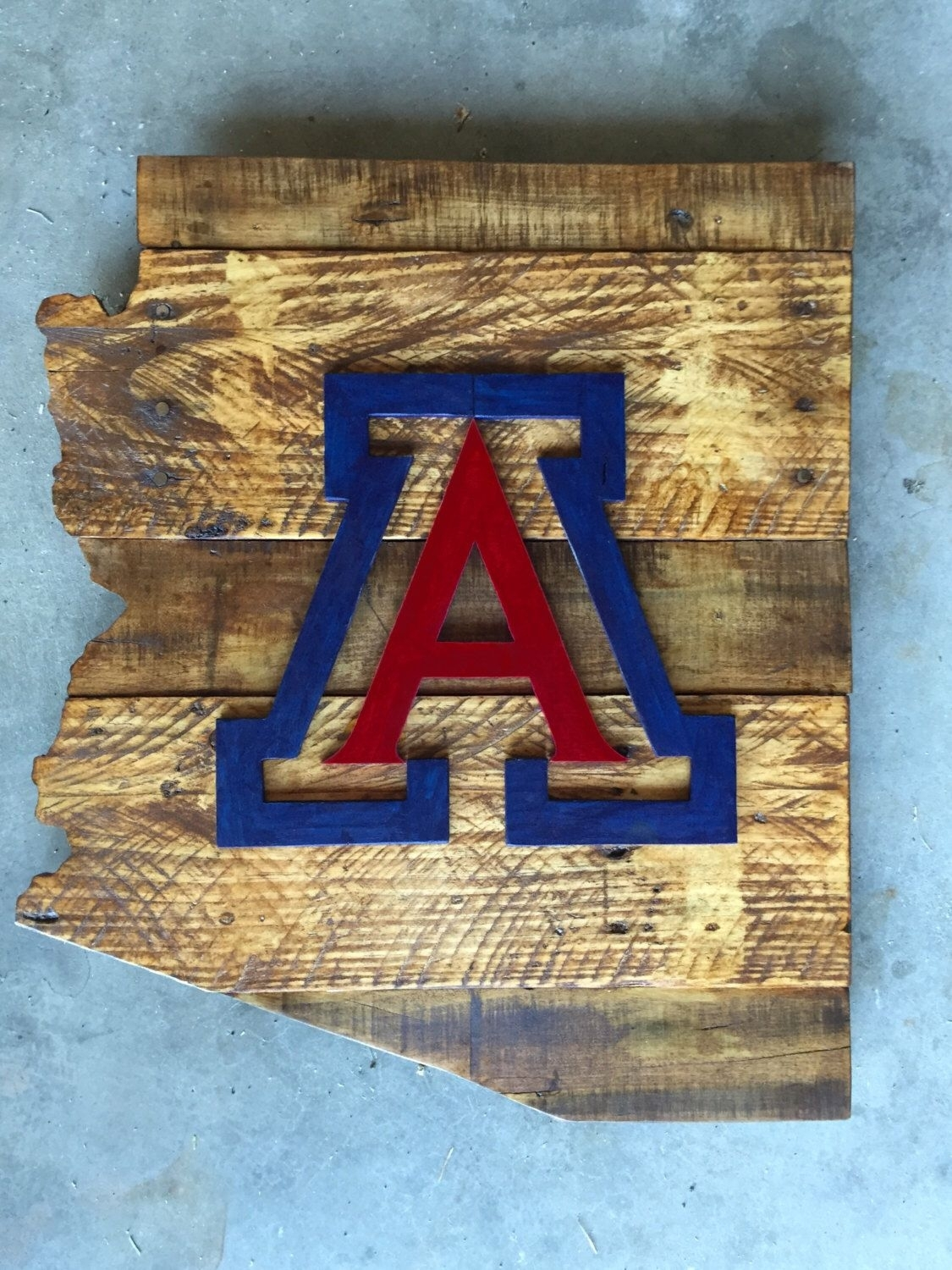 University Of Arizona Wood Sign, Arizona Sign, University Of Arizona pertaining to Arizona Wall Art (Image 20 of 20)
