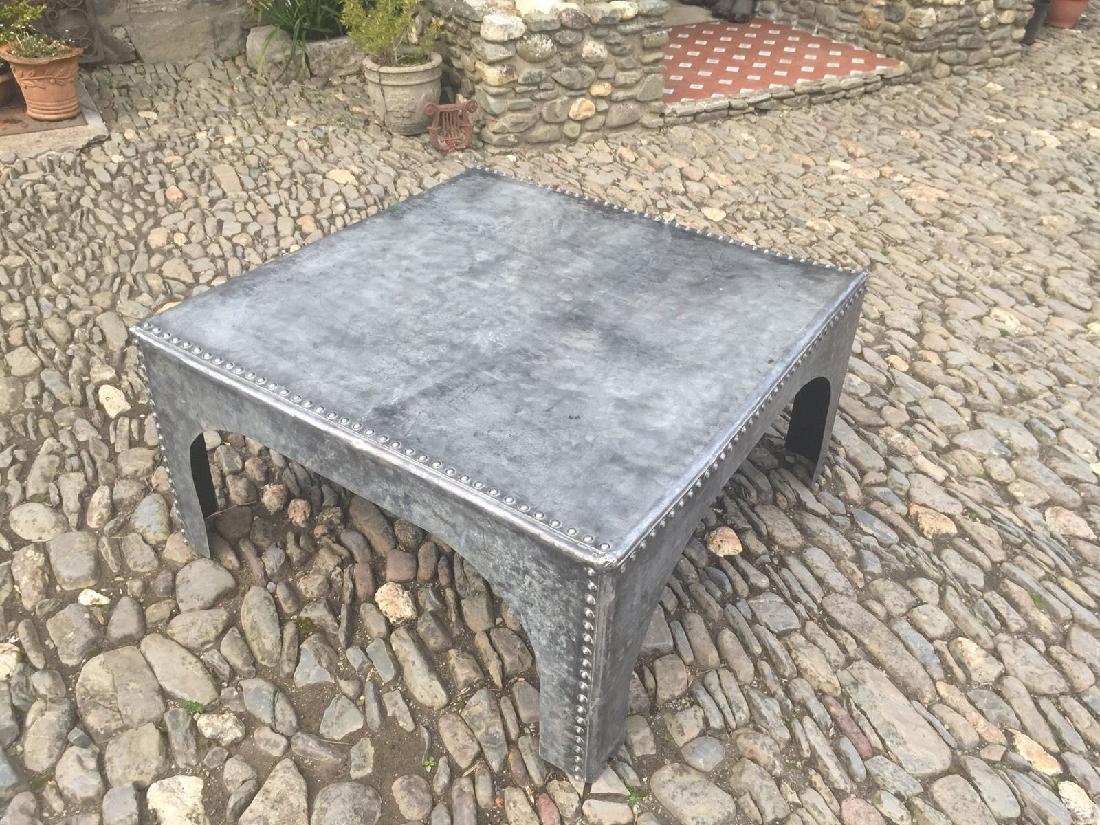 Upcycled Industrial Galvanised Water Tank Coffee Table In 2018 in Aged Iron Cube Tables (Image 25 of 30)