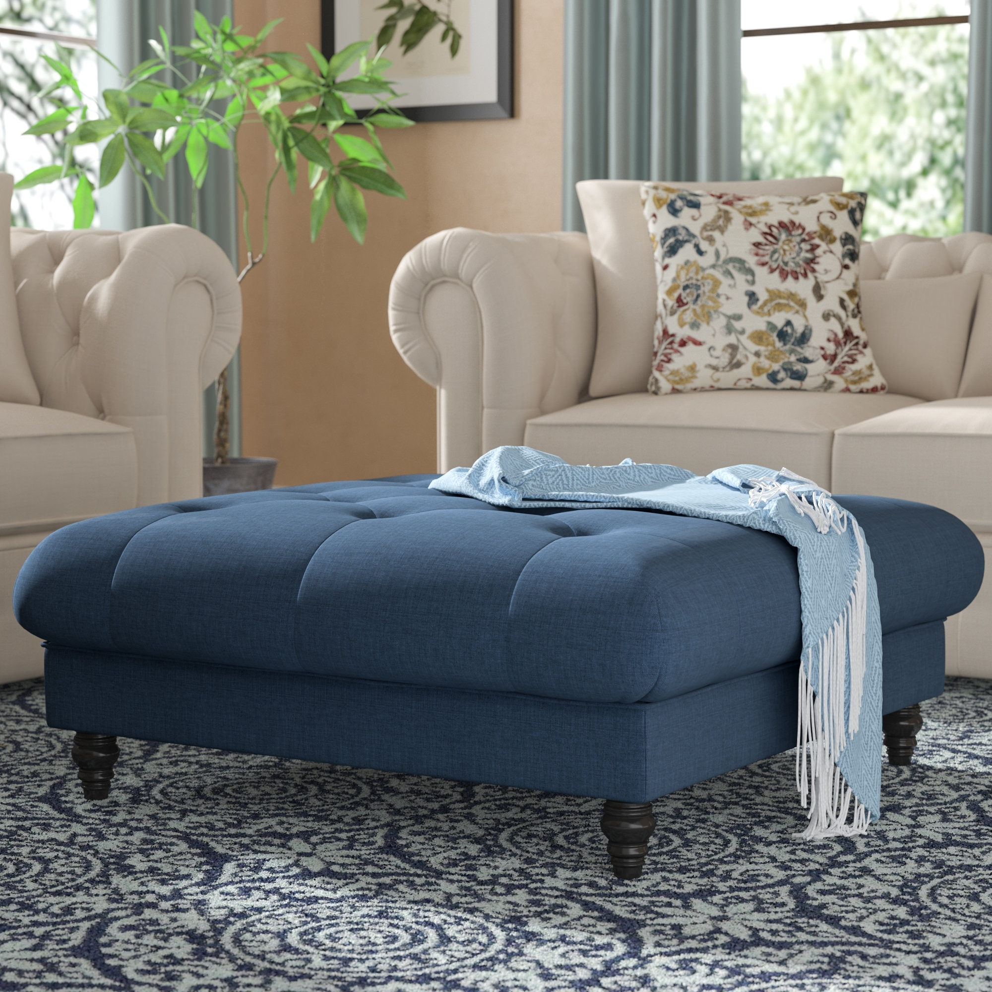 Upholstered Square Ottoman | Wayfair pertaining to Mill Large Leather Coffee Tables (Image 30 of 30)