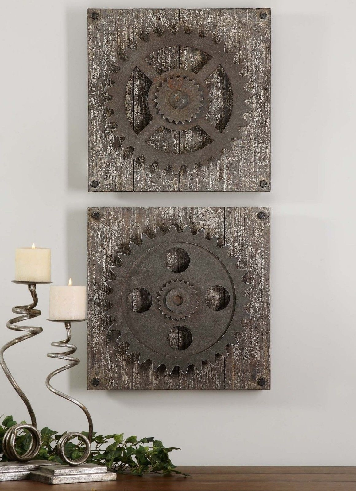 Urban Industrial Loft Steampunk Decor Rusty Gears Cogs 3D Wall Art for Industrial Wall Art (Image 16 of 20)
