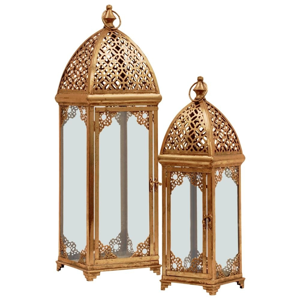 Urban Trends Collection Gold Candle Metal Decorative Lantern-40823 pertaining to Outdoor Indian Lanterns (Image 20 of 20)