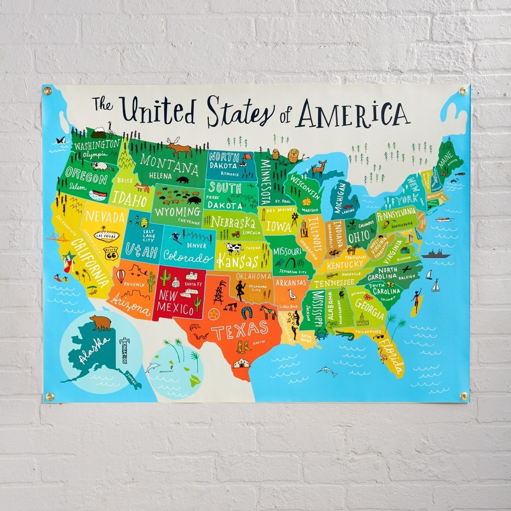 Us Map License Plate Print United States Map Wall Art Wood Wall Art With United States Map Wall Art (View 7 of 20)