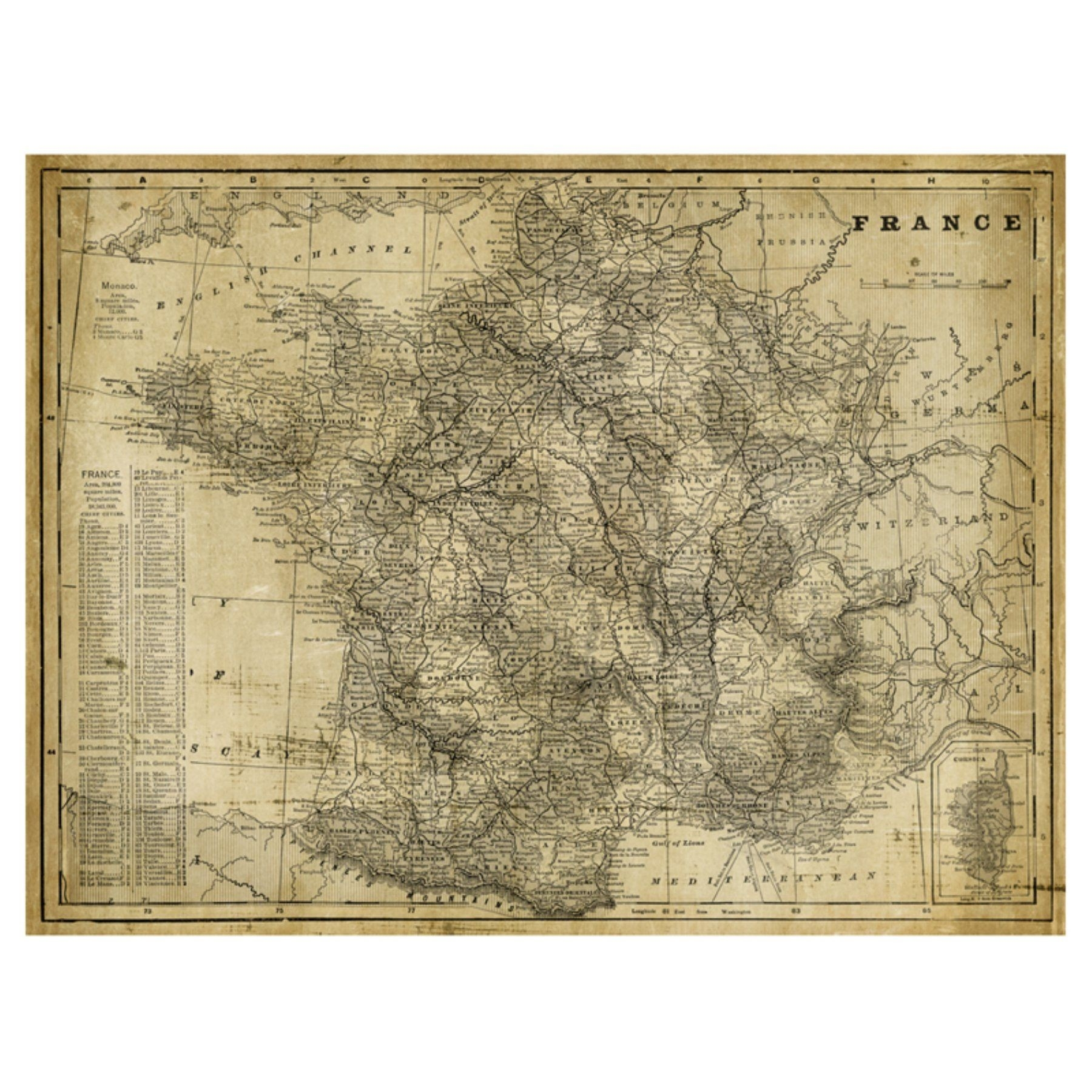 Us Map On Canvas Best Art Effects Antique Map France Canvas Wall Art regarding Us Map Wall Art (Image 12 of 20)