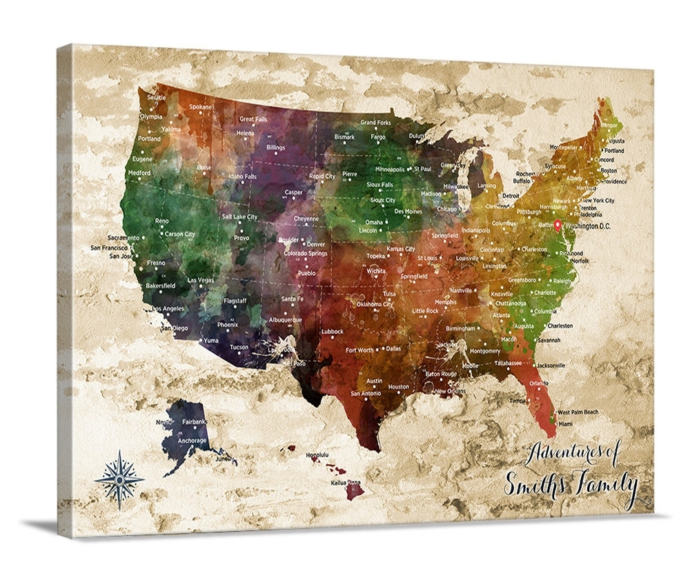 Us Map Push Pin Wall Art Canvas Print, Personalized Usa Map intended for Us Map Wall Art (Image 13 of 20)