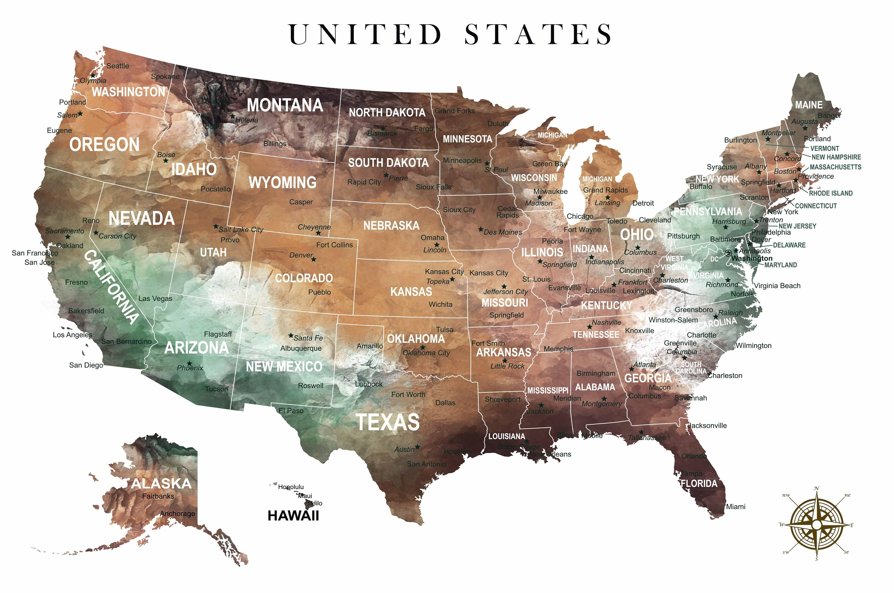 Us Map Wall Art,us Pushpin Map,us Adventure Map,united States Canvas Throughout United States Map Wall Art (View 5 of 20)