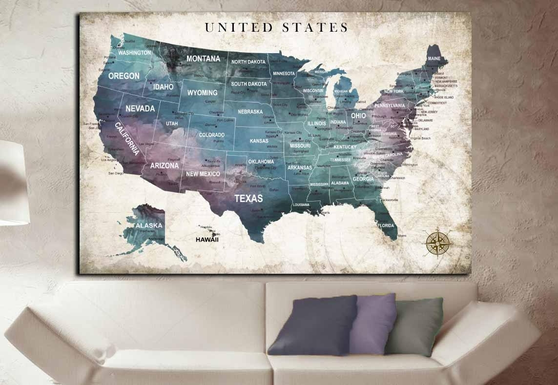 Us Travel Map,us Push Pin Map,united States Map,us Map Wall Art throughout Us Map Wall Art (Image 17 of 20)