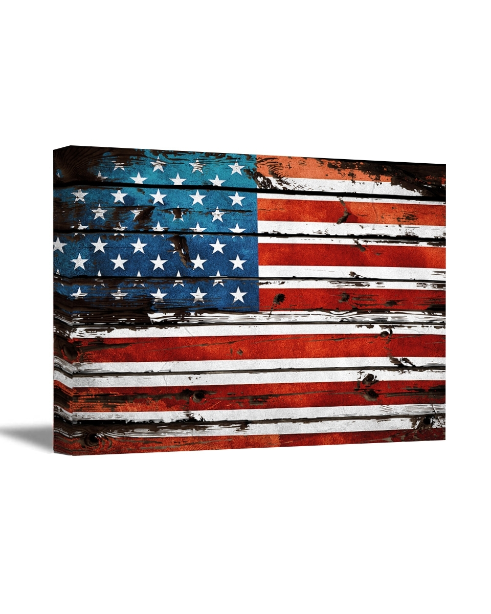 Usa Flag Canvas Art Retro Rustic Style Art American Flag Wall Art intended for Vintage American Flag Wall Art (Image 16 of 20)