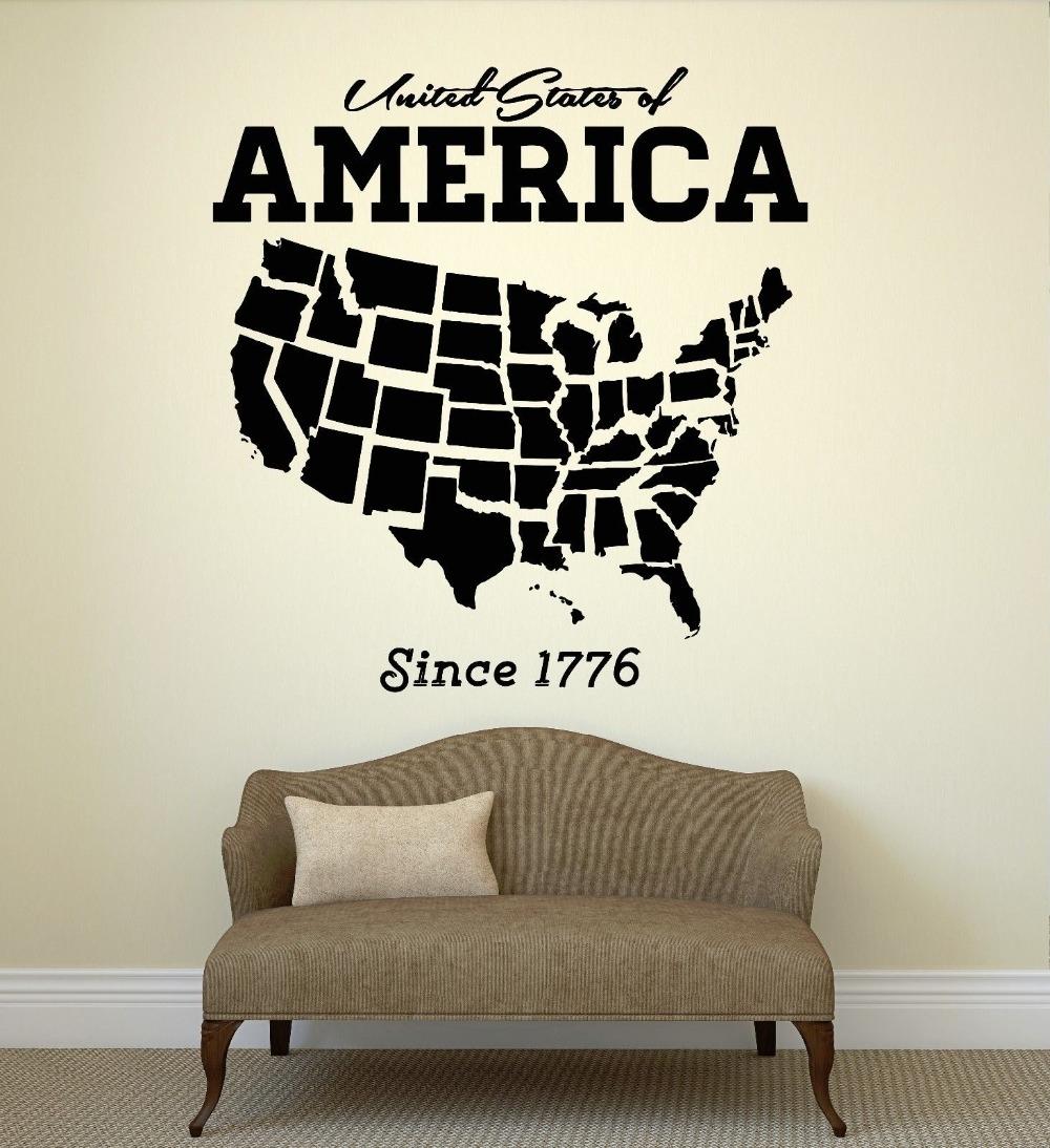 Usa Map Wall Sticker United States Of America Map Mural Pvc Wall Art inside United States Map Wall Art (Image 17 of 20)
