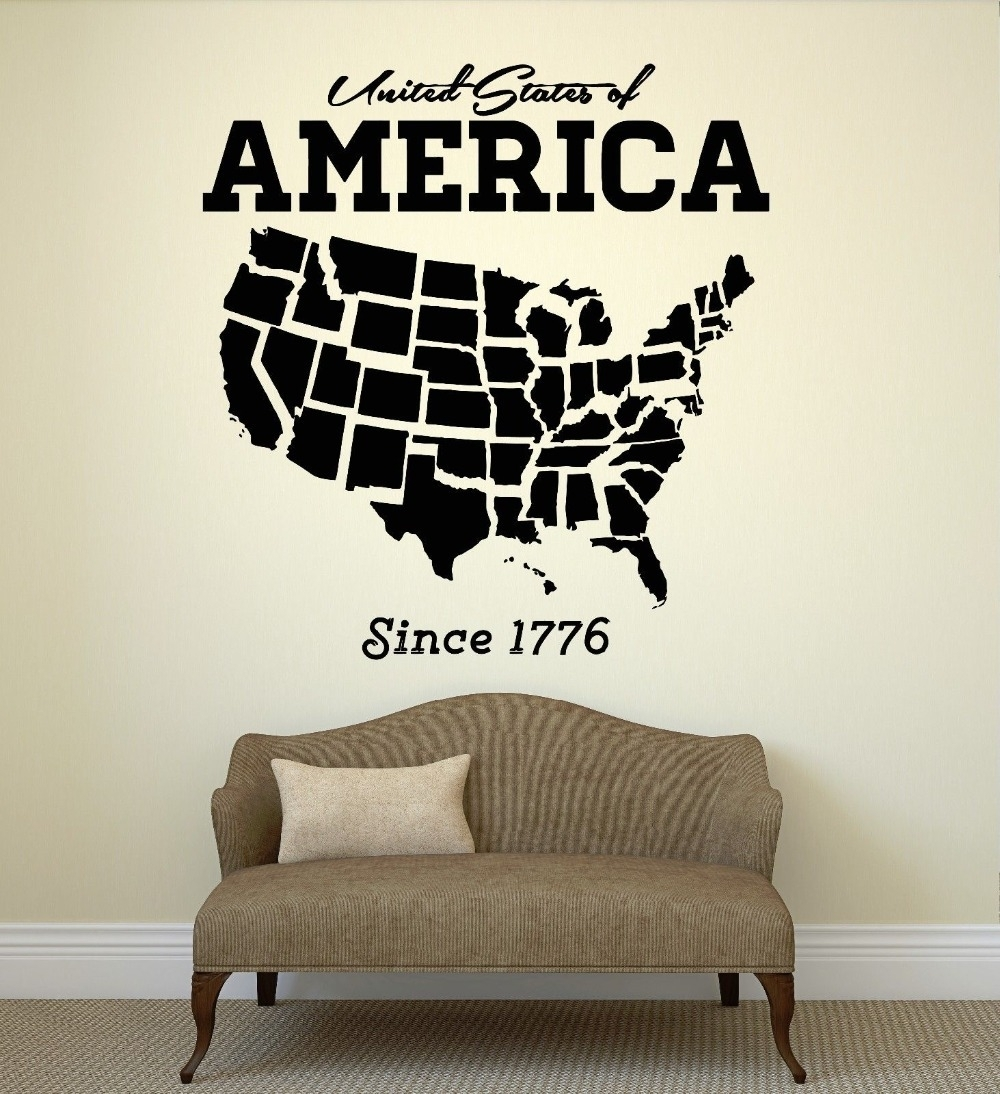 Usa Map Wall Sticker United States Of America Map Mural Pvc Wall Art within Us Map Wall Art (Image 18 of 20)