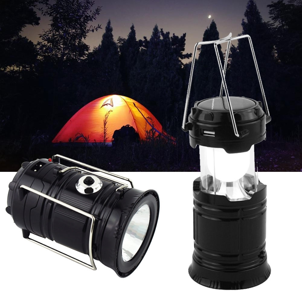 Usb Solar 6 Led Portable Light Rechargeable Lantern Outdoor Camping Regarding Outdoor Rechargeable Lanterns (View 20 of 20)