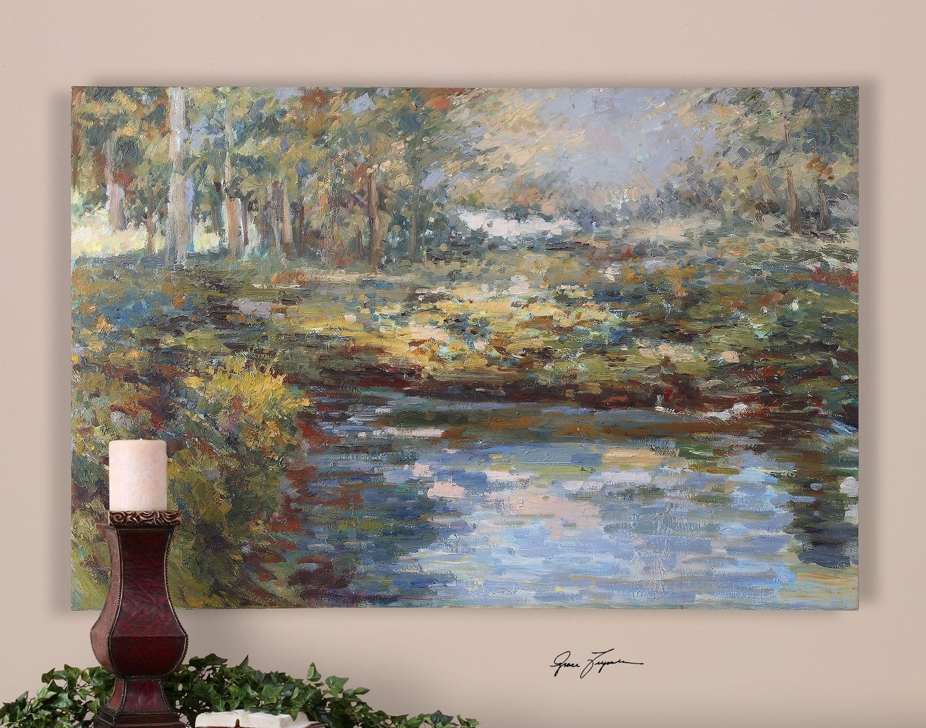 Uttermost Lake James Hand Painted Wall Art   Stuff Uttermost with regard to Uttermost Wall Art (Image 15 of 20)