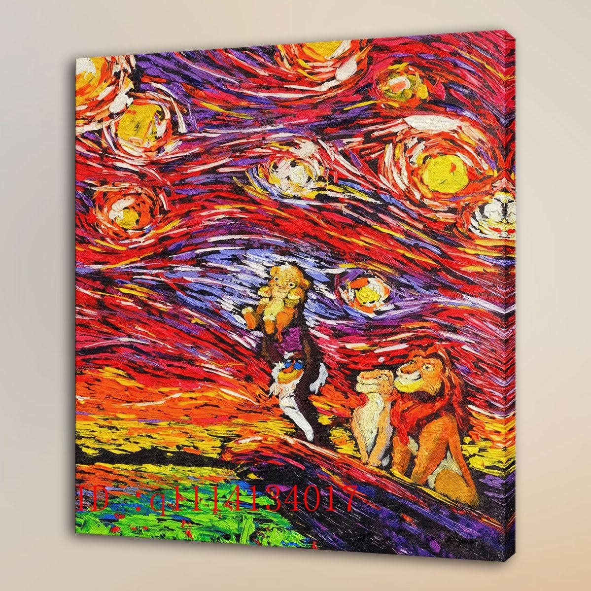 Van Gogh Lion King Simba Living-3 Hd Canvas Prints Wall Art Oil with Chinese Wall Art (Image 18 of 20)