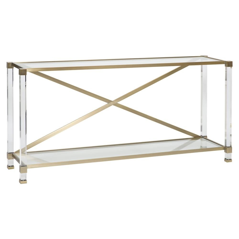 Vanguard New Modern Acrylic Satin Brass Console Table | Kathy Kuo Home throughout Acrylic & Brushed Brass Coffee Tables (Image 20 of 20)