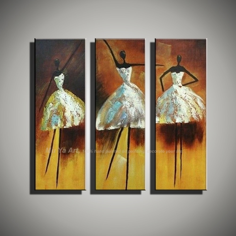 Vertical Music Art Knife Painting Canvas Abstract Modern 3 Piece throughout Modern Painting Canvas Wall Art (Image 20 of 20)