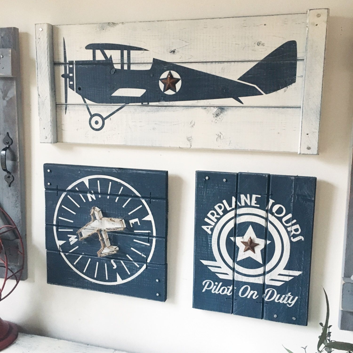 Vintage Airplane Wall Decor, 2-4 Pc Set, Boys Vintage Airplane Decor within Aviation Wall Art (Image 17 of 20)