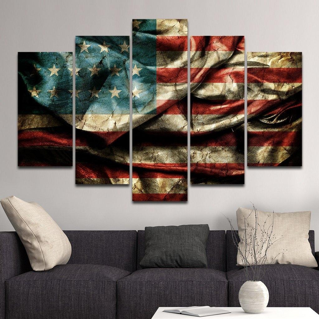 Vintage American Flag Wall Art : Andrews Living Arts - Very pertaining to Vintage American Flag Wall Art (Image 17 of 20)