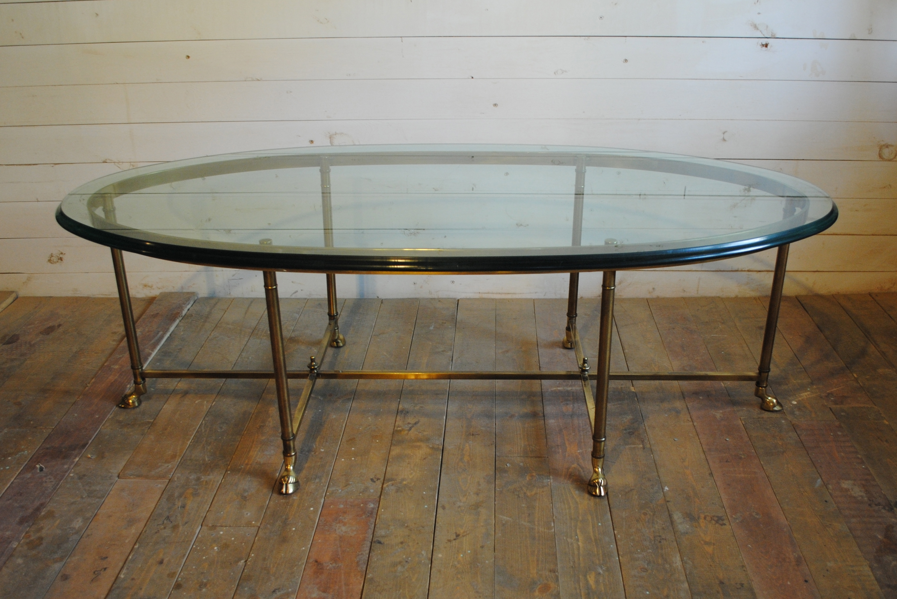 Vintage Brass Waterfall Coffee Table Acrylic Rotating Glass regarding Acrylic Glass And Brass Coffee Tables (Image 29 of 30)