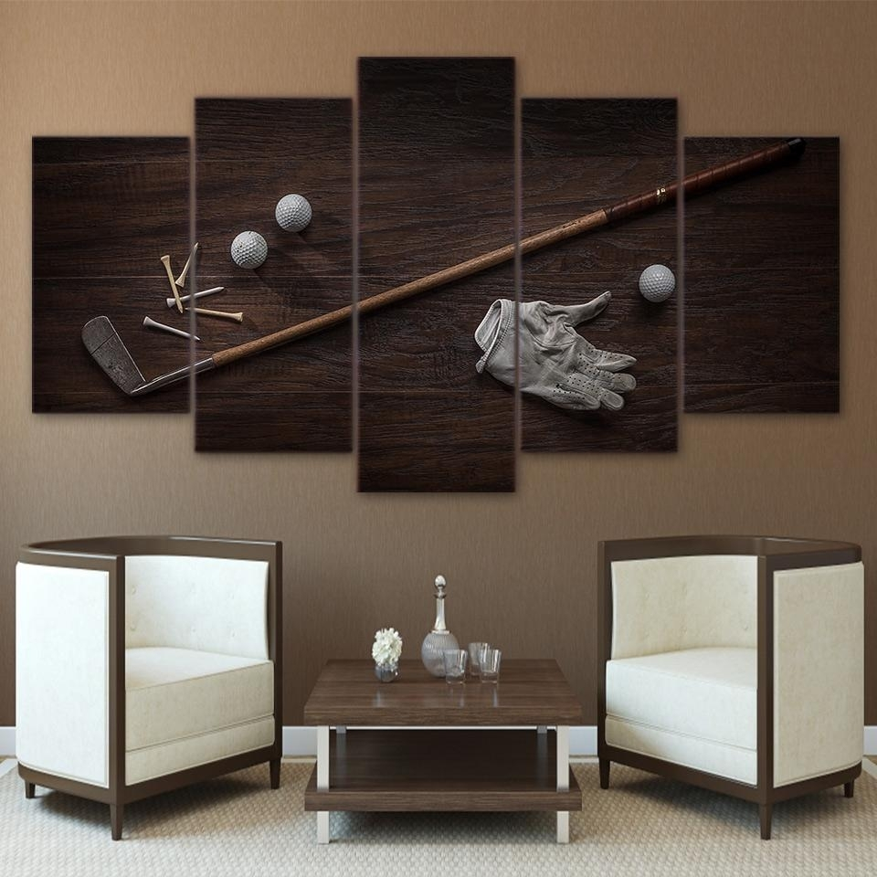 Vintage Golf Tools Ball And Club 5 Pcs Canvas Wall Art Print Picture For Golf Canvas Wall Art (View 10 of 20)