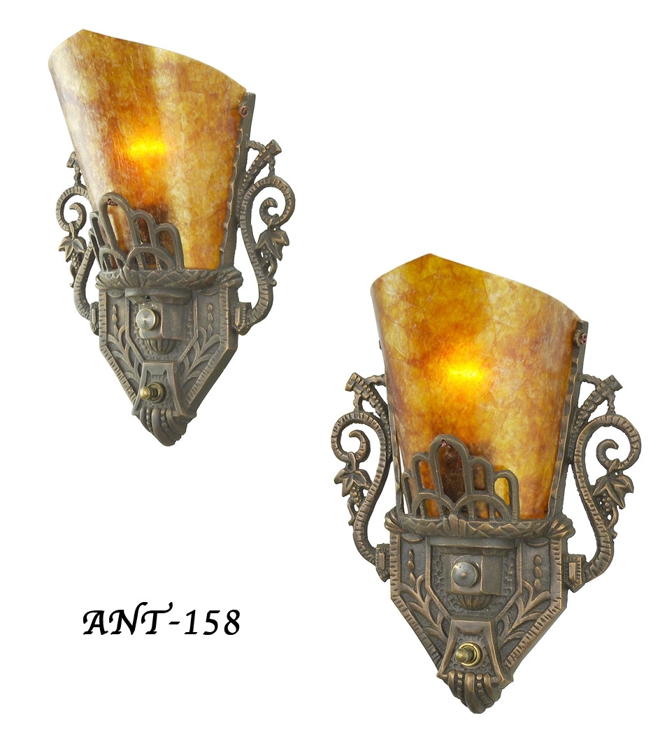 Vintage Hardware & Lighting - Pair Of Antique Restored Art Deco Wall in Art Deco Wall Sconces (Image 18 of 20)